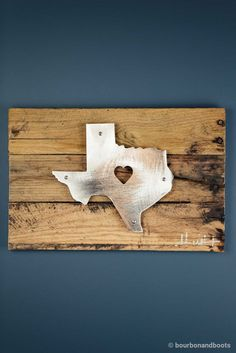Texas Heart Reclaimed Wood & Shaped Metal Art $85