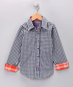 Navy Gingham Button-Up from Ciao Marco on #zulily! #Fall Essentials