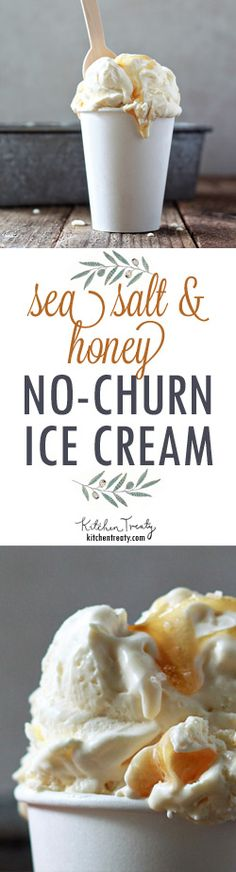 Sea Salt + Honey {No-Churn} Ice Cream - an irresistibly savory/sweet combination, plus only four ingredients, five minutes to mix together, and no ice cream machine needed!