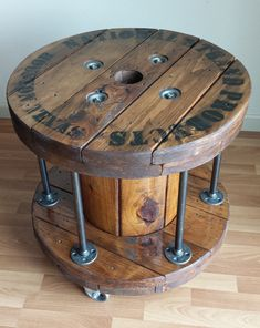 Industrial Reclaimed Wood Cable Reel Side / End Table with Black Steel Pipe & Casters