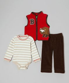Perfect for nippy days when there is no time to plan an ensemble, this set has style and function covered. A playful fleece vest keeps everything cozy while an elastic waistband is secure for all the romping in piles of leaves that is sure to occur.