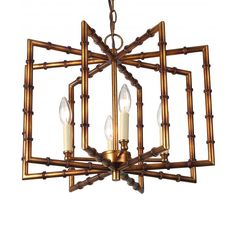 This bamboo style pendant has round tubing in a rectangled repeat form.