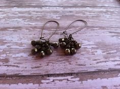 Wire Wrapped Pyrite Teardrop Cluster Dangles by StoneWireWorks