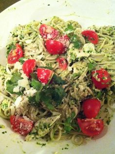 Dinner - lemon/cilantro pesto on brown rice pasta with campari tomatoes and chicken - really good and good for you!