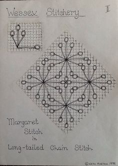 Wessex Stitchery notes by Kath Morton Embroidery Needles, Embroidery Jewelry, Hand Embroidery Patterns, Cross Stitch Embroidery, Embroidery Designs, Blackwork, Needlepoint Stitches, Needlework, Chain Stitch