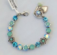 Mariana Cindy Bracelet NWT Florals  Aquamarine Pacific Opal Swarovski Crystals