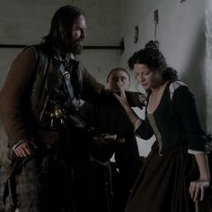"Murtagh (Duncan LaCroix) and Claire Fraser (Caitriona Balfe) in ""To Ransom A Man's Soul"" Outlander Finale on Starz via http://kissthemgoodbye.net/PeriodDrama/thumbnails.php?album=318"