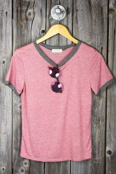 Ministripe Short Sleeve Ringer Tee - Pink/Heather Grey