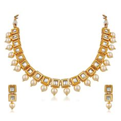 Ethnic White Pearl gold Plated Bollywood Indian Kundan Women  Necklace Set #natural_gems15