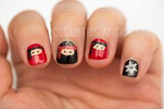 "Ninja nails!  Now you see them...now you don't! My daughter ""T"" would be hysterical over these nails #nailart"