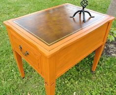 Norma's Kentiques - My BLOG  This vintage leather top table is painted in Annie Sloan Barcelona Orange Chalk Paint.  All is finished with clear and dark wax including leather for protection.
