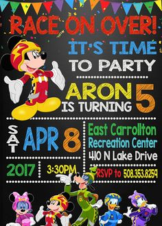 Mickey And The Roadster Racers Birthday Invitation Mickey And