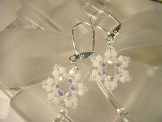 Swarovski Snowflake Earrings White Opal Bead by sincerelybeaded, $18.00