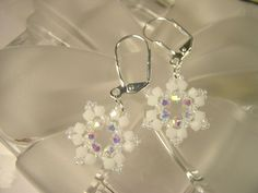 Swarovski Snowflake Earrings, White Opal Beads