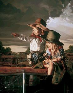 Bob Byerley : Deputies--We bought this painting years ago, signed and numbered, because we were SURE that the artist had used my daughter Katie as the model for the little girl on the right...the resemblance at that time was uncanny.