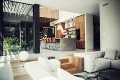 Suburban Villa / Kitchen by Eginstill Sunken Living Room, Home Living Room, Living Room Designs, Living Spaces, Küchen Design, House Design, Suburban House, Interior Architecture, Interior Design