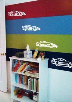 Race Cars - set of four - Vinyl Wall Decal. Can replicate this vinyl wall art with a custom K Designs kling at www.facebook.com/KandKDesignswithAshley