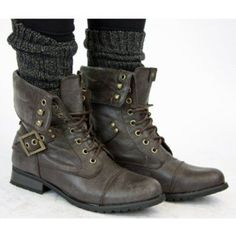how to wear combat boots this fall | Ladies Brown Military Style combatArmy Lace up Ankle Worker Boots ...