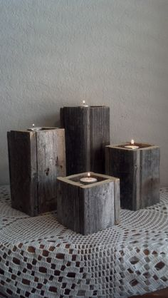 Rustic Wooden Candle Holders by 116Creations on Etsy, $24.99
