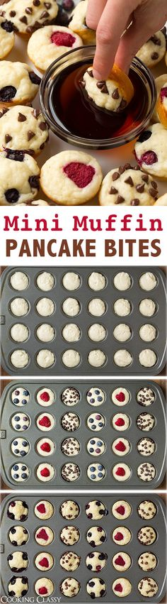Mini Muffin Pancake Bites - perfectly dunkable and totally delicious! Add fresh fruit, mini chocolate chips or bake them plain then brush with butter and dunk in a cinnamon sugar for a churro version! Great for a breakfast/brunch party! Pancake Bites, Pancake Muffins, Mini Muffins, Pancakes Easy, Mini Pancakes, Breakfast Muffins, Breakfast Fruit, Waffles, Fruit Pancakes