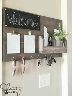 From kitchen command centers to corner wall command centers here are The 11 Best Family Command Centers we could find so you can be organized in no time at all! Organize, home decor, wood, key, welcome. Command Center Kitchen, Command Centers, Family Command Center, Diy Casa, Easy Home Decor, Wood Home Decor, Cute Home Decor, Diy Wall Decor, Diy House Decor