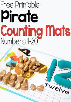 Free Pirate Play Dough Mats Numbers 11-20