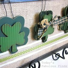 One burlap backed frame.  then swap out the ornaments for each season or holiday. Shamrocks for St. Patrick's Day. leaves for autumn, snowman for winter.  See pics in the blog post.   Interchangeable Frame Idea from today's fabulous finds.