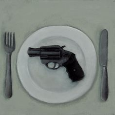 Eat A Gun, 12x12, Acrylic and Charcoal Pencil on Canvas 2017 Gabe Langholtz