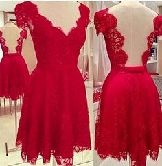 Prom Dress Lace, Prom Dress Short, Prom Dress A-Line, Lace Red Prom Dress, Open Back Prom Dress Short Homecoming Dresses Backless Homecoming Dresses, Red Lace Prom Dress, Open Back Prom Dresses, Dresses Short, Sweet 16 Dresses, Prom Dresses With Sleeves, Dresses For Teens, Junior Dresses, Pretty Dresses