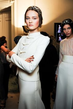 backstage at Valentino Haute Couture Fall 2011