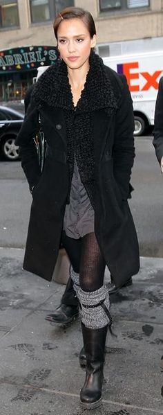 Who made Jessica Alba's black boots that she wore in New York, February 03, 2010?