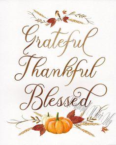 Grateful Thankful Blessed Thanksgiving Print Fall Art Fall | Etsy