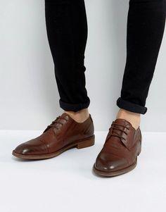 Chaussures À Lacets Occasionnels En Cuir Beige Avec Des Détails De Perforation - Asos Brun CNV4hHtQtM