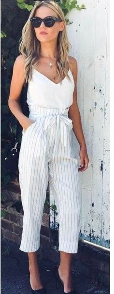 #Summer #Outfits / White Sleeveless Top + Striped Palazzo Pants