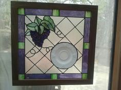 Art glass designed around a Harvest Grape Milk Glass plate -my glass design