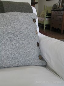 homespun living: making a wool cable knit pillow cover in about an hour...