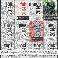 "This coordinating set of 4x6"" month card templates for 2014 by Penny Springmann is the perfect way to document the month for all of your pro..."