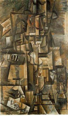 El aficionado. Picasso. 1912. Óleo sobre lienzo. Tras asistir a una corrida en Nimes, Picasso retrata a un aficionado a los toros, con sombrero cordobés.