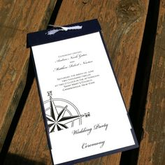 Nautical Stripe Wedding Program - Printable - Navy and White - Starfish - Anchor - Compass - Knot - Ships Wheel