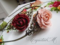 Vicissitude (in Rose Pink) - Victorian Style Blooming Rose Floral Headband, Vintage Wedding Bridal Accessory