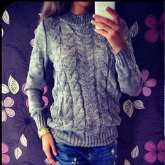 Loose knit sweater, but not too baggy, like this.