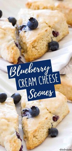 cream cheese recipes These homemade blueberry scones with cream cheese are light, flaky and just a bit sweet. This easy Blueberry Cream Cheese Scones recipe makes the best breakfas Cheese Scones, Cream Cheese Cookies, Cream Cheese Biscuits, Cream Cheese Bread, Cream Cheese Glaze, Blueberry Scones Recipe, Blueberry Cream Cheese Muffins, Blueberry Bread, Vanilla Scones Recipe Easy