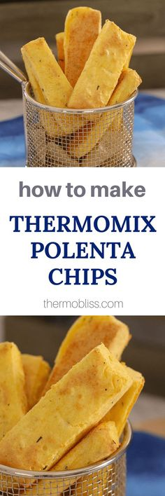 Delicious Thermomix Polenta Chips seasoned with rosemary, garlic & parmesan cheese and oven baked to perfection! Crispy on the outside & soft on the inside! Cereal Recipes, Whole Food Recipes, Snack Recipes, Snacks, Finger Food Appetizers, Finger Foods, Jack Food, Curried Lentil Soup, Polenta Fries