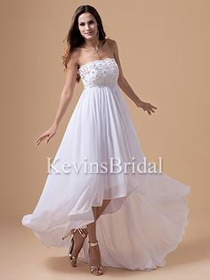 Empire Waist Long Beach Beaded High Low Summer Chiffon Wedding Gown - US$ 123.29 - Style KB0587 - Kevins Bridal