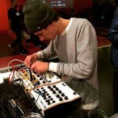 """Mr #kyteman enjoying the @koma_elektronik pedals. He's doing a workshop on his monster modular later at #dancefair"""