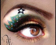 Christmas Tree eye makeup