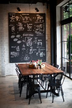Chalkboard painted walls/canvases/ panels, are not only practical but also an inexpensive solution to create a dramatic effect in kitchens and dining rooms. Add reclaimed aged wood tables, industrial-style chairs and lighting and give your dining room a s Deco Restaurant, Restaurant Design, Dining Area, Kitchen Dining, Dining Rooms, Kitchen Modern, Kitchen Paint, Kitchen Black, Kitchen Wood