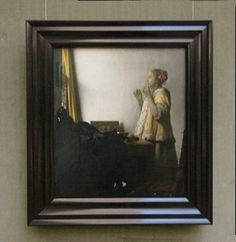 Johannes Vermeer's WOman with a Pearl Necklace with frame