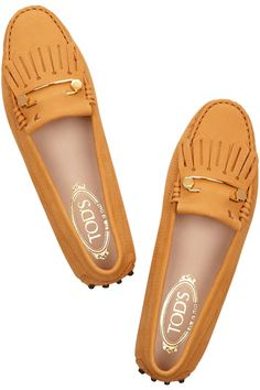 Tod's Gommino leather loafers in tangerine