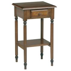 Knob Hill Multi-Tiered Telephone Table by OSP Designs. $77.92. KH04 Features: -Shelf and drawer for storage and display. Color/Finish: -Antique cherry wood finish. Assembly Instructions: -Some assembly required. Dimensions: -Overall Dimensions: 28 3/4'' H x 17'' W x 15'' D.